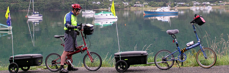 Bikes and trailers round the Marlborough Sounds, New Zealand